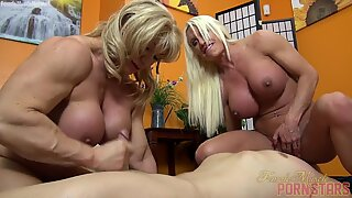 two dame Bodybuilders fuck One Dude