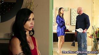 Busty nuru babe gets cum