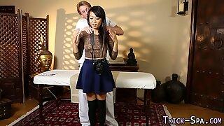 Asian teen fucks masseur