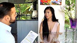 NannySpy Asian babysitter Jade Kush caught giving sexual massage
