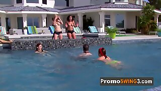 American swinger sexy ladies touch each other tits in a foreplay.