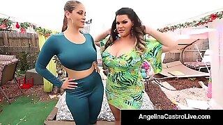Cuban plumper Angelina Castro porks Ms. Raquel With strap-on!