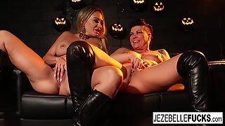 Sexy Halloween fun between two hot MILFs