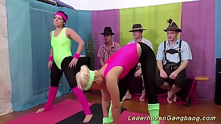 lederhosen groupsex with hot flexi teens