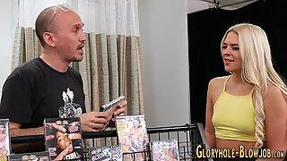 Fucked gloryhole blonde sucks black dongs