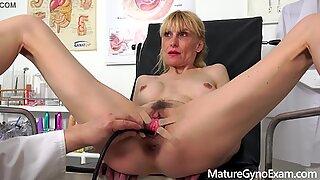 Perverse gyno exam of slender mature woman Valeria - MatureGynoExam.com
