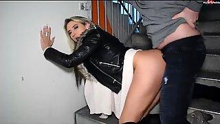Blonde German in a Black Fur Trimmed Leather Jacket Sex