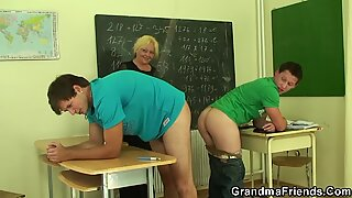 senior mature schoolteacher takes from both sides