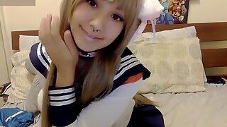 Asian college girl kitty Monster dildo Blowjob POV