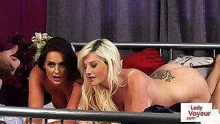 Naughty voyeur MILF duo undress giving JOI