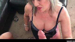 Busty MILFs sucking massive dick in POV video