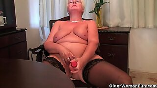British and full figured granny Sandie masturbates with a dildo