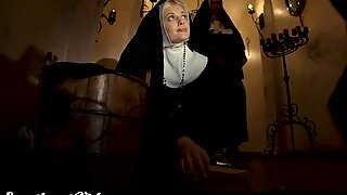 Busty Lesbian Nuns Eat Each Other Out as Sister Secretly Watches