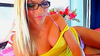 Cute Blonde Wearing Glasses Dildo Masturbation HD