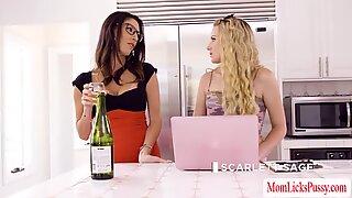 Busty Milfs Scarlett and Dava enjoys teen Brandis pussy