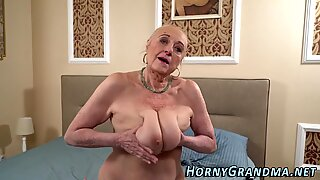 Busty old lady railed