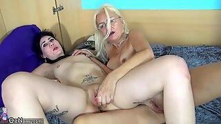 OldNanny Teen girl and pretty mature masturbating