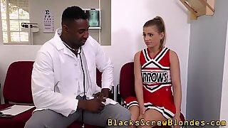 Teenage cheerleader rides fat rod