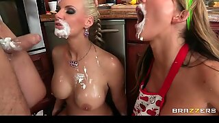 Big tit milfs stretch their ass with food before t