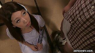 Naughty Japanese babe in skirt Ai Mizushima sucks