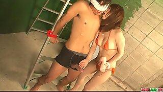 Redhead chick in bikini playing with cock and screwed