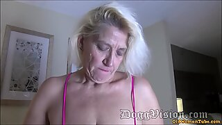 56y GILF Amber Connors Squirts in Hotel Stairwell