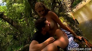 Filthy blonde fucks inside the forest