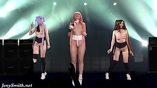 Naked Singer on Stage. Virtual Reality. Naked Dance