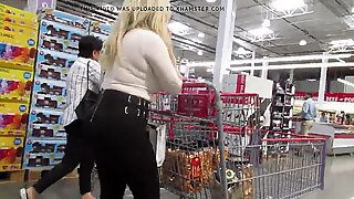 Hot amateur pornstar in heels and spandex shopping Pt 2